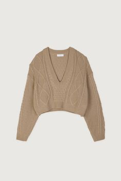 Lend a vintage appeal to your looks with this cropped cable knit sweater made in a relaxed fit for easy layering. Style it with a vegan leather skirt for added texture. Aesthetic Sweaters, Brown Outfit, Sweater Making, Knit Skirt, Fall Winter Outfits, Cable Knit Sweaters, Jacket Style, Casual, Cool Outfits