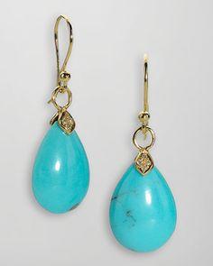 Elizabeth Showers 18k Gold Diamond & Turquoise Teardrop Earrings - Neiman Marcus