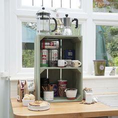 Obstkisten Regal in der Küche machen