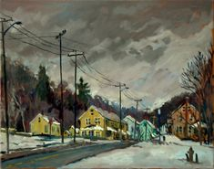 16x20 Oil on Canvas North Adams Mill Houses in Snow. Realist