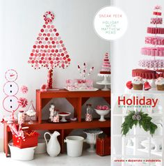 ribbon, buttons, tree, red, pink, white, peppermint, christmas