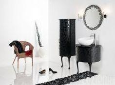 meble łazienkowe Piano Sanitti #bathroom #furniture #lazienka #cabinet #szafka #meble #black #glamour