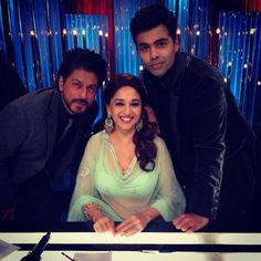 Shahrukh Khan, Karan Johar & Madhuri Dixit-Nene