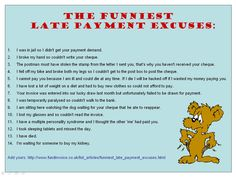 Late Payment Notice | Funny Late Payment Excuses Image