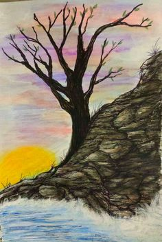 Sunset. Water colored pencils, ink,