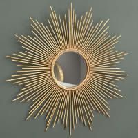 Spiegel aus Metall, golden, Living Room Decoration mirror decoration ideas for living room House Of Mirrors, Sun Mirror, Metal Mirror, Wall Mirror, Golden Mirror, New Swedish Design, Mirror Crafts, Interior Inspiration, Decoration