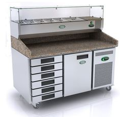 Genfrost GPZ2600DR 1 Door + Drawers Prep Counter With Granite Top & Refrigerated Well