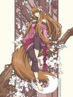 animal ears anklet art nouveau artist name barefoot branch brown hair capri pants cinnamoron flower holo jewelry long hair pants red eyes sitting smile solo spice and wolf tail watermark web address wolf ears wolf tail - Image View - Anime Wolf, Neko, Cosplay, Spice And Wolf Holo, Wolf Deviantart, Wolf Ears, Wolf Wallpaper, Kawaii Anime, Cute Art