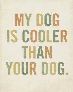 Heehee!  I mean, your dog is cool and all, but mine is the bestest!!