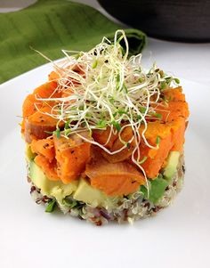 Sweet potato, quinoa, avocado and sprouts. 30 Gourmet Vegan Recipes For Fine Dining At Home - Eluxe Magazine Gourmet Dinner Recipes, Dinner Party Recipes, Cooking Recipes, Vegetarian Recipes Gourmet, Gourmet Desserts, Gourmet Foods, Plated Desserts, Healthy Recipes, Whole Food Recipes