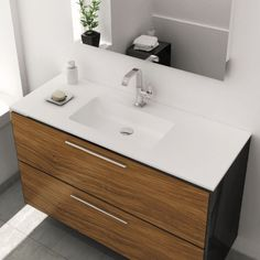 LAVABO SOBRE ENCIMERA EMPOTRADO SOLID SURFACE CARDIFF 160 X 46 CM Cardiff, Double Vanity, Bad, Bathroom Designs, House, Countertops, Bathroom Furniture, Bathroom Sinks, White Colors
