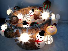 Christmas set cotton ball string lights Cotton ball by ginew
