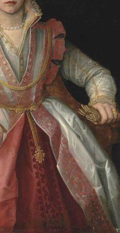 """Portrait of a Lady"", detail, by Francesco Salviati"