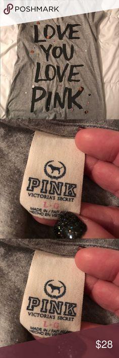 Victoria secret pink tshirt large Victoria secret pink tshirt large can fit xl PINK Victoria's Secret Tops Tees - Short Sleeve