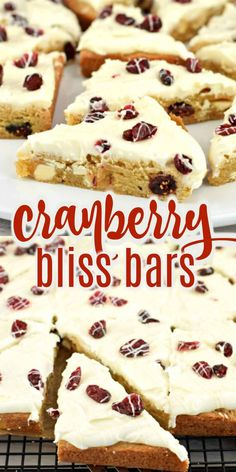 Cranberry Bliss Bars {Starbucks Copycat} Recipe - Shugary Sweets Just like the one you love from the big coffee chain! Everyone loves Cranberry Bliss Bars and with this recipe you can impress your friends with tasty treats without breaking the bank. Cranberry Bliss Bars Starbucks, Cranberry Bars, Cranberry Recipes, Holiday Recipes, Starbucks Pastries, Dessert Bars, Dessert Recipes, Desserts, Cookie Recipes