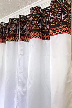 Your house don't have to be so conventional. Our awesome African Print window curtains transform a neglected essential into an awesome statement piece. Description:Dimensions available (Size per W x L / 115 cm x 215 Printed Curtains, White Curtains, Window Curtains, African Interior Design, African House, African Theme, African Style, African Home Decor, African Fabric