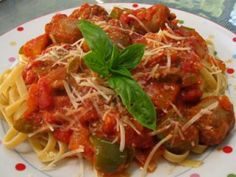 Fettuccine with Sausage and Peppers - Linda Larsen