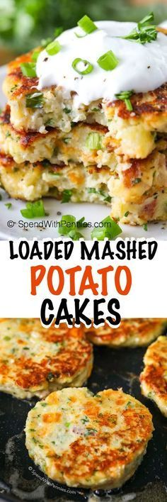These Loaded Mashed Potato Cakes make an amazing side dish or light dinner or lunch! These are the perfect way to enjoy leftover potatoes and the flavor combinations are endless! And othet mashed potato recipes here Side Dish Recipes, Vegetable Recipes, Vegetarian Recipes, Cooking Recipes, Mashed Potato Cakes, Loaded Mashed Potatoes, Potato Pancakes, Salmon Potato Cakes, Vegetarian