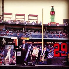 John Smoltz takes the stage as his #29 is retired.
