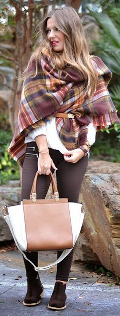 """Think about a scarf as your statement piece - get this look with an oversize wrap - at least 80"""" long or more. Burgundy Multi Plaid Woolen Scarf / Mi Aventura Con La Moda"""