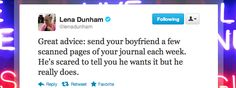Lena Dunham insists your significant other wants to read your journal