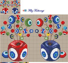 Designed by Filiz Türkocağı. Modern Cross Stitch, Cross Stitch Designs, Cross Stitch Patterns, Crochet Christmas Ornaments, Christmas Cross, Cross Stitching, Cross Stitch Embroidery, Cross Stitch Pillow, Tapestry Crochet