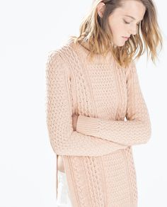 Image 2 of LONG CABLE STITCH SWEATER from Zara