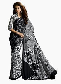 Buy indian wedding sarees. Shop this glorious faux crepe casual saree.