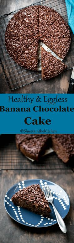 Eggless Banana Chocolate Cake -a healthy and decadent dessert/snack to satisfy your sweet tooth. Its made of whole wheat flour (atta) has no-butter, no-oil, no white or brown sugar but instead some yummy and healthy substitutes to make it healthy and tasty. Enjoy!!