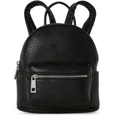 Street Level Black Faux Leather Mini Backpack ($35) ❤ liked on Polyvore featuring bags, backpacks, black, faux-leather backpacks, vegan backpack, faux leather bag, top handle bags and vegan leather backpack