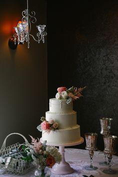 Pretty, vintage cake table. Photo by Blush Photography. www.wedsociety.com #wedding #cake