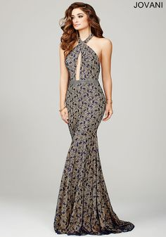 480a93fd570 Halter lace form fitting long dress with a crystal embellished waistline  and a sheer mesh keyhole