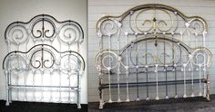Beautiful as a antique double.equally, if not more so, beautiful as a modern king. Vintage Bed Frame, Antique Iron Beds, Antiques, Modern, King, Furniture, Beautiful, Home Decor, Antiquities