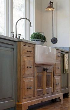 Cabinet color combo, sink and match island and exhaust good cover to the sink.  Exactly what I want!-  35 Best Farmhouse Kitchen Decor Ideas