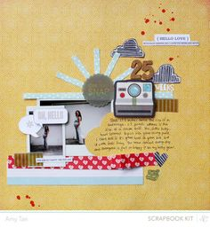 25 Weeks *Main Kit Only* by amytangerine at Studio Calico--love the sun 12x12 Scrapbook, Scrapbook Page Layouts, Scrapbook Paper Crafts, Paper Crafting, Scrapbooking Ideas, Studio Calico, Amy Tan, Paper Hearts, Layout Inspiration