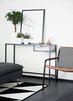 Mostly IKEA. Young couple has built a small house and used much of IKEA furniture. Plant love IKEA Kitchen -end- Scandinavian Interior, Home Interior, Interior Decorating, Monochrome Interior, Decorating Ideas, Ikea Rug, White Console Table, Ikea Bedroom, Minimalist Decor