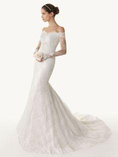 Dresse Lace Long Sleeve Wedding Dress | Luxuriant Long Sleeve Off Shoulder Lace Mermaid Wedding Dress with ...