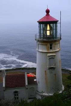 Heceta Head Lighthouse on a misty evening - Oregon