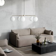 Menu Offset Sofa - A contemporary sofa, understated yet statement-making, Offset is the result of research into 'balance' by Norm Architects. Contemporary Sofa, Old Lamps, Decor, Creative Home, Home Lighting, Burke Decor, Unusual Home, Traditional Chandelier, Marble Table