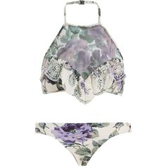 Zimmermann Lucia Embroidered Mesh Bikini ($315) ❤ liked on Polyvore featuring swimwear, bikinis, bikini, swimsuits, halter top, mesh swimsuit, bikini bathing suits, halter bikini and flounce bikini