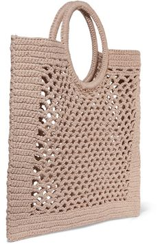 Mizele – Sunbath crocheted cotton-blend tote - My Bag Ideas Bag Crochet, Crochet Market Bag, Crochet Handbags, Crochet Purses, Crochet Stitches, Free Crochet, Crochet Patterns, Crochet Hooks, Diy Sac Pochette