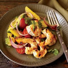 """Grilled Shrimp with Mom's Avocado-and-Orange Salad   Andrew Carmellini's dish is a mix of two beloved salads: shrimp-avocado and shrimp-citrus. He throws in a few surprises, too, like the hot sauce in the dressing. He recommends a fruity one from the Caribbean made with habaneros: """"Habaneros are crazy,"""" he says."""