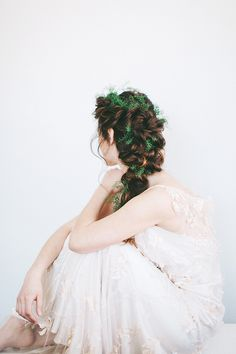 Beautiful greenery in wedding hair! Photo Credit: http://alixannlooslephotography.com/. Flower Design by http://allisonbaddley.com/. Hair by http://www.hairandmakeupbysteph.com/. From http://www.100layercake.com/blog/2015/06/04/unique-floral-bridal-inspiration-floral-bridal-hairstyles/