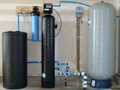 Water Systems- If your household is plagued with hard water, a softener system is a must. Softer water can help keep your shower walls and doors free of hard water stains and help make your hair and skin look their best. Hard Water Filter, Whole House Water Filter, Water Filters, Home Water Filtration, Water Purification, Mechanical Room, Pex Plumbing, Water Treatment, Water Systems