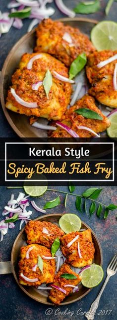 Kerala Style Spicy Baked Fish Fry ~ A spicy fish & that is baked instead, with some delicious Kerala style spice marinade. This is a great side to rice and curry or even an appetizer! Best Seafood Recipes, Fish Recipes, Indian Food Recipes, Asian Recipes, Healthy Recipes, Ethnic Recipes, Kerala Recipes, Indian Foods, Indonesian Recipes