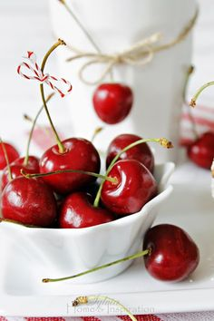 summer cherries in a bowl Stunning!