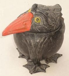 RARE-ANTIQUE-ARTS-CRAFTS-GROTESQUE-MARTIN-BROTHERS-WALLY-BIRD-SPELTER-INKWELL