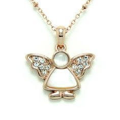 """Fashion Rose Gold Metal Angel Shaped Pendant Necklace; Elegant Angel Shaped Pendant with Clear Rhinestones and White Shell measures 0.75""""L Eileen's Collection. $28.99"""