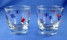 Enco Advertising Barware Libby Glasses Nautical Marine Signal Flags Mid Century #Enco #Libby