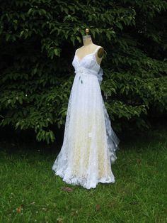 Yellow Daisy Lace Wedding Dress by hippiebride on Etsy, $795.00. This dress would be cute for my little sister as flower girl!